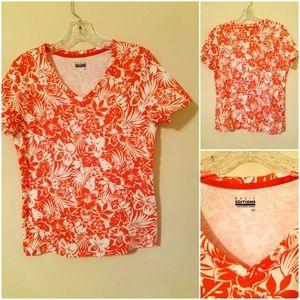 *Basic Editions* V-neck Floral Print Blouse Sz S